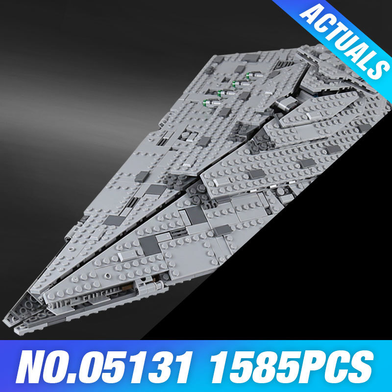 Lepin 05131 The First order Star Model Destroyer Set 1585PCS Genuine Star Plan Series 75190 Building Blocks Bricks Toy DIY Gift цены онлайн