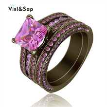 Visisap Black gold color Ring Pink stone Square AAA Zircon Vintage Wedding bridal Sets Rings For Women Fashion Jewelry VSR116