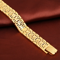 Men S Bracelet Gold Plated Chunky Chain Bracelets Wrist Link Thick Jewelry Male Gift Carved Star