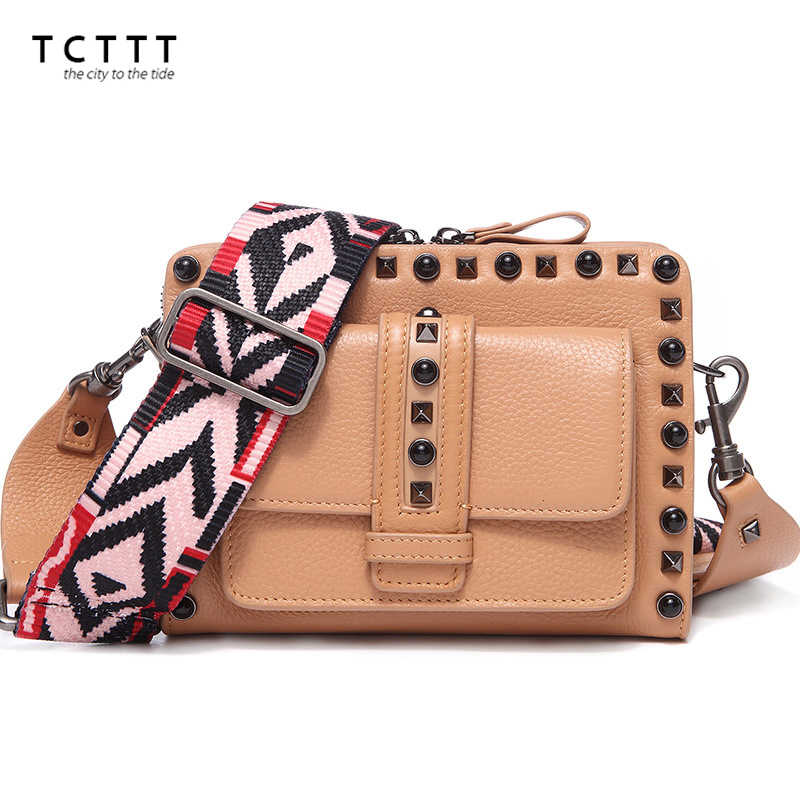 TCTTT Fashion Female women's crossbody bag Rivet genuine leather High Quality Messenger shoulder bags for ladies Bolsas Feminina tcttt luxury handbags women bags designer fashion women s leather shoulder bag high quality rivet brand crossbody messenger bag