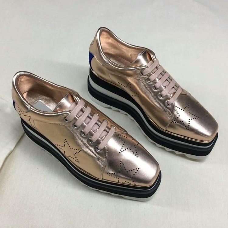 2018 Design Pic Lacets Étoiles Pic Chaussures Véritable Mujer Superstar En Orteil As as Cuir Plate Croissante Femme Carré Appartements forme PgPnxqrH