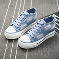 2016 spring autumn Europe US new fashion Jeans canvas shoes student casual patchwork female thick bottom comfort flat shoes blue