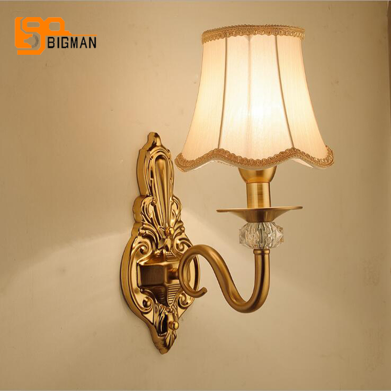 Free shipping Europen style wall lamp AC110V 220V gold wall lights for home decor цены онлайн