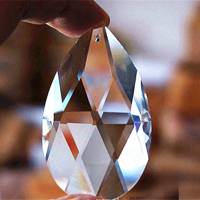 10 Buah/50 Mm Jelas K9 Kaca Kristal Prisma Liontin Lampu Gantung Bagian Lustres Rainbow Lampu Penerangan Menggantung Tetes
