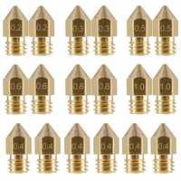 18 Pcs 3D Printer Nozzles M6 Extruder Brass Nozzle Print Head (2x0.2mm+2x0.3mm+6x0.4mm+2x0.5mm+2x0.6mm+2x0.8mm+2x1.0mm) for MK