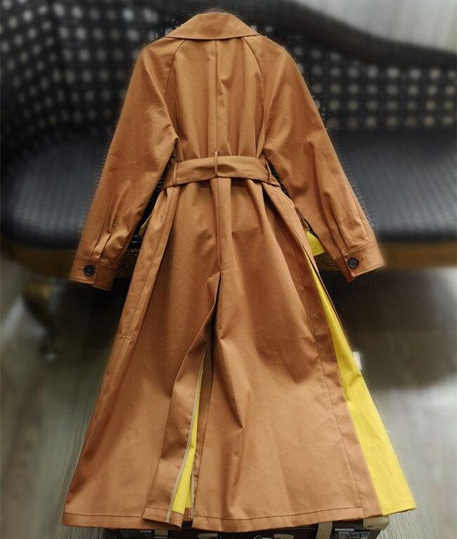 Plus La Arrivée Qualité long Femmes Femelle pink Français X Vintage 2019 Haute Automne Tranchée Printemps Taille Nouvelle Coton Orange Dark Survêtement Khaki qnTxnfO