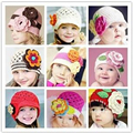 2016 Hot Sale Flowers Winter Warm Cotton Cap Infant Toddler Boys Girl Knit Hats Baby Handwork Knit Hat 9 Available Free Size
