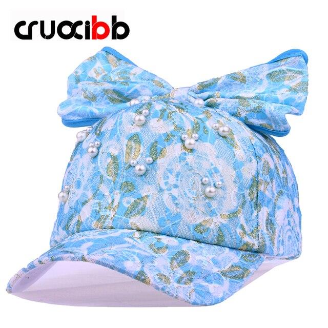 Cruoxibb New Fashion Women Baseball Cap Lace Bowknot Simulated Pearl