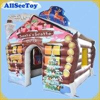 Новый Дизайн 3,6 м/12ft надувные Деды Морозы грот на Рождество, ПВХ брезент Материал дом
