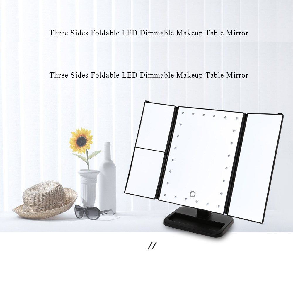 Three Sides Foldable 24 LED Lights Dimmable Makeup Table Mirror randomly rotated with 90 degree and Detachable Base
