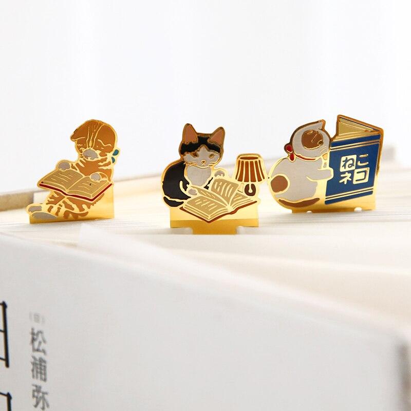 1 77 14 De Reduction Japonais Mignon Chat Metal Signet Dessin Anime Kawaii Livre Marque Papier Signet Pour Livres Ecole Bureau Fournitures Cadeaux