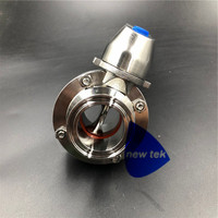 Heavy Duty Sanitary 1 and 1.5 (50.5mm OD )Tri Clamp Butterfly Valve SS304 Squeeze Trigger Handle Silicon/EPDM