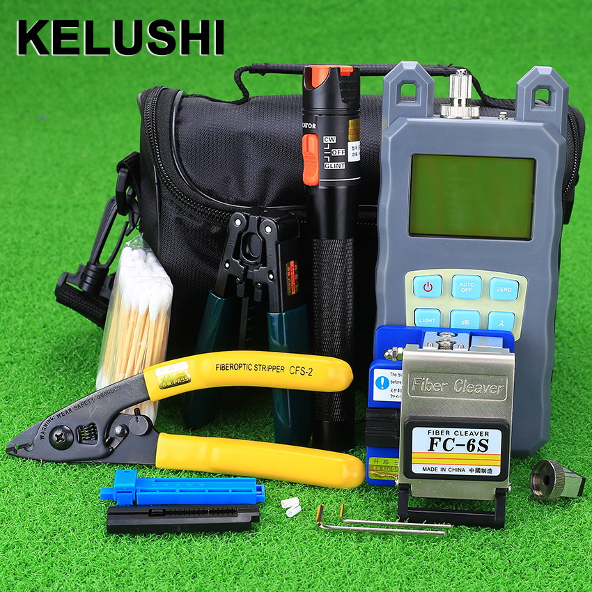 KELUSHI 19pcs Fiber Optic Ftth Tools Kit Optical Fiber Cleaver Visual Fault Locator 10mw VFL Optical Power Meter fibre stripper