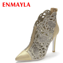 ENMAYER Platform pumps Leather summer shoes women high heels rhinestones Pointed Toe woman ladies dress dance