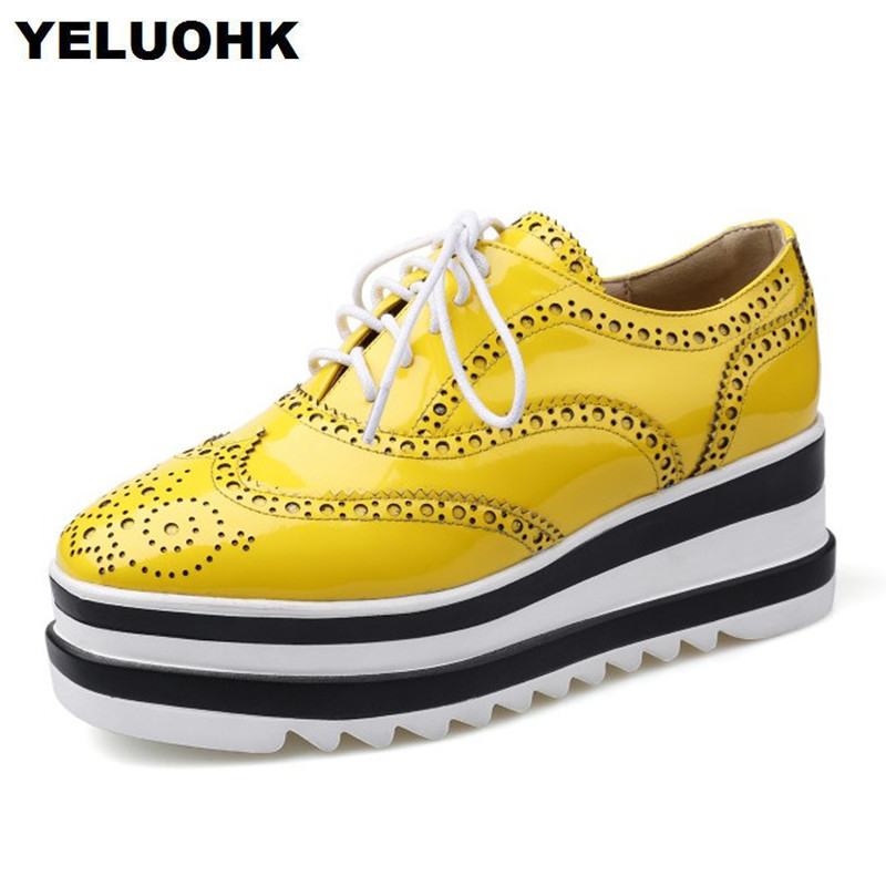 2018 New Spring Brogue Shoes Women Flats Casual Platform Shoes Women Patent Leather Lace Up Spring Shoes High Quality padegao brand spring women pu platform shoes woman brogue patent leather flats lace up footwear female casual shoes for women