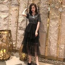 V Neck Sequined Bling Dress Women Summer Kpop Cake Patchwork Mesh French Retro Elegant Lady Gorgeous Black Robe Femme S-L