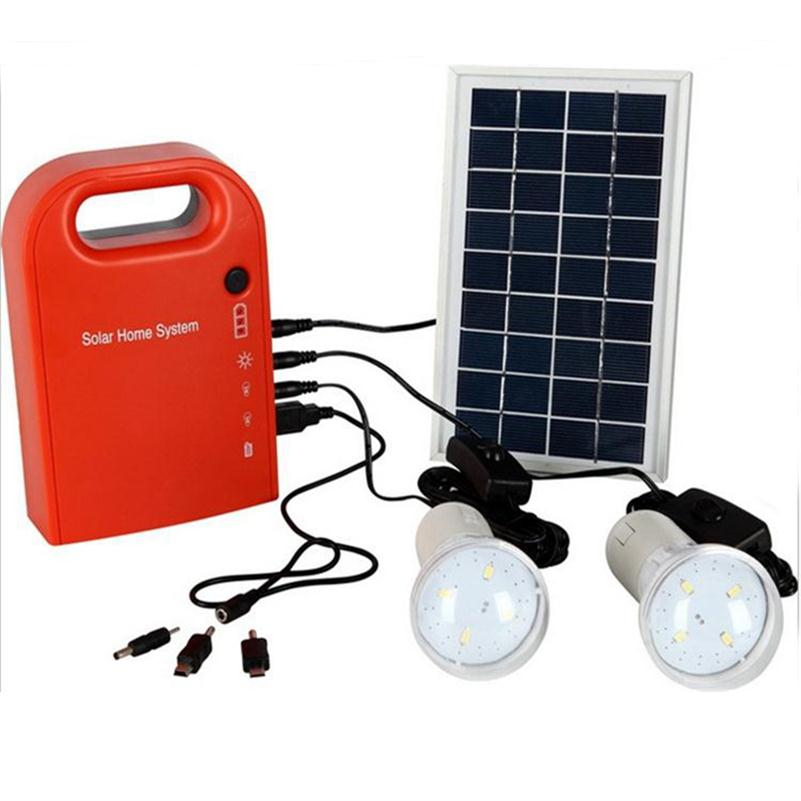 Фото Portable Large Capacity Solar Power Bank Panel 2 LED Lamp USB Cable Battery Charger Emergency Lighting Solar Generator System