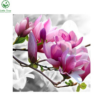 Pink Magnolia Triptych Full Diamond Embroidery Kits DIY Square Cross Stitch Flowers Mosaic Diamond Painting Nice