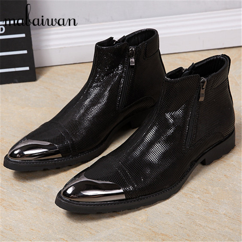 Metal Toe Men Ankle Boots Soft Leather Military Boots Black Side Zipper Cowboy Safety Shoes Wedding Dress Shoe Rubber Boot Tenis mabaiwan punk style leather men shoes military cowboy ankle boots high rubber boots metal pointed toe lace up buckle shoes men
