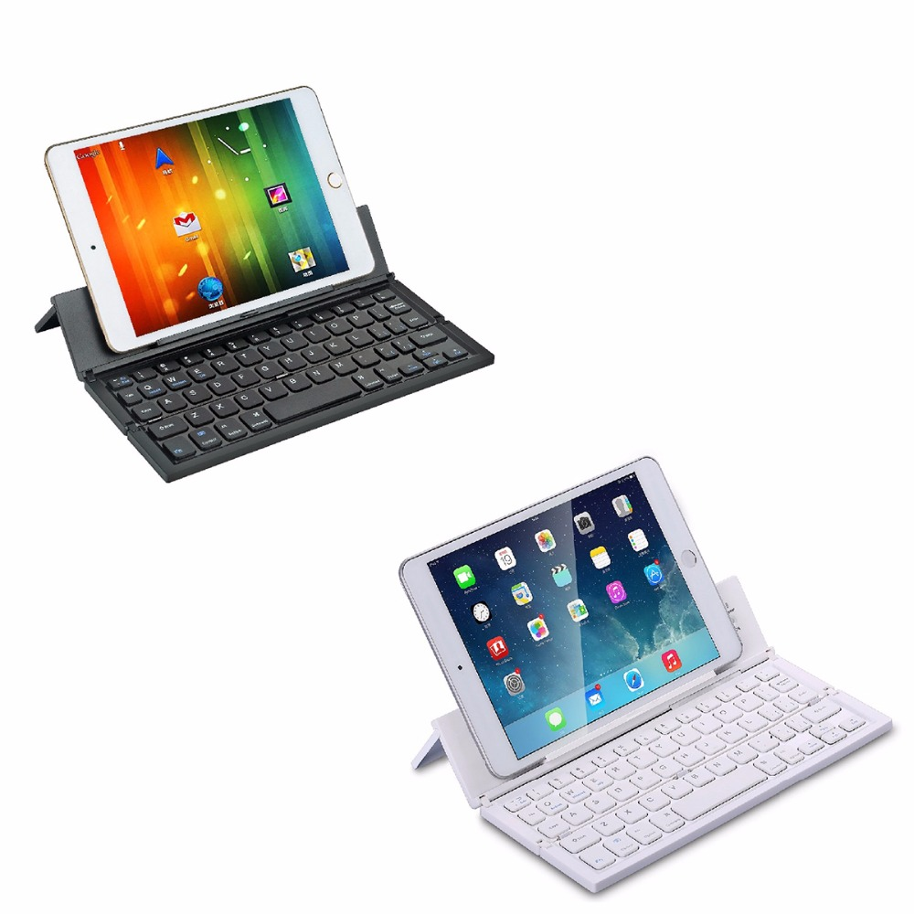 Portable Mini Wireless Foldable Bluetooth Keyboard Collapsible Keypad Phone Holder for For Windows Android iPhone iPad IOS PC [avatto] a20 pocket leather folding mini keyboard bluetooth foldable wireless keypad for iphone android phone tablet ipad pc