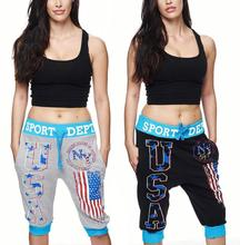 Zogaa Hot Soft Cotton Fitness Jogger Pants Women High Waist Solid Sport Workout Kneed Length Breathable Letters Printed