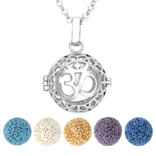 Ayliss White Golden OM symbol Locket Pendant 7 Chakra Aromatherapy Essential Oil Dyed Lava Natural Reiki Healing Ball