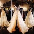 Vestidos de duas peças de Vestidos de baile 2016 com trem destacável 2016 luxuoso de cristal do ouro da luva do tampão Prom Party Dress vestido de noite