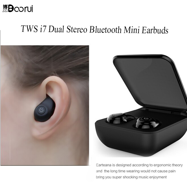 cc04510a0d2 BOORUI TWS I7 V4.1 Invisible Wireless Dual Earbuds Surround Sound In Ear  Bluetooth Earphones with Charging Case for Smart phone