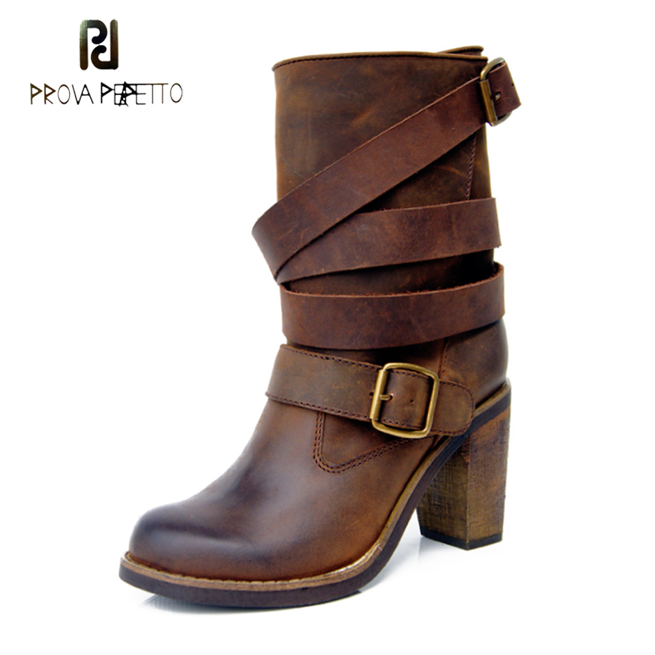 Prova Perfetto genuine leather chunky heel women short boots belt buckle high heel martin boots retro do old motorcycle boots prova perfetto fashion round toe low heel mid calf boots feminino buckle belt thick bottom genuine leather women s martin boots
