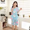 2016 Marca Mulheres Conjuntos de Pijama Impressão Doce Dos Desenhos Animados Manga Curta Pijamas Mujer 20 Estilo Casa Sleepwear Pijama Para As Mulheres