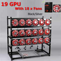 19 GPU Silver Black Mining Frame With 18 X LED Fans Aluminum Stackable Open Air Outdoor