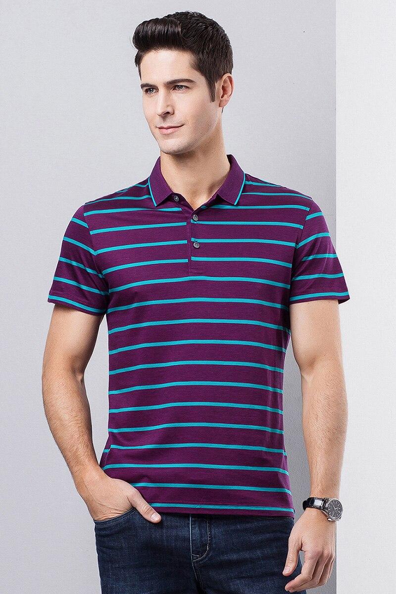 Hight Quality Fashion Style Casual Stripe Men's   Polos   double mercerized cotton Short Sleeve   Polo   Shirt