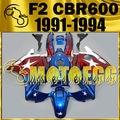 Motoegg ABS Bodywork Fairings Fit F2 CBR600 91-94 Plastic Star White Blue H21M12 Motorcycle ABS plastic