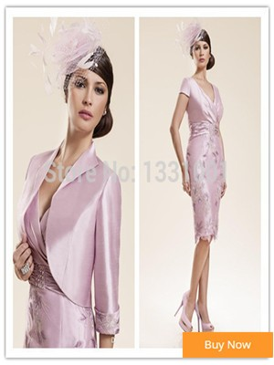 2015-New-Half-Sleeve-Mother-Of-The-Bride-Short-Dresses-With-Jackets-Knee-Length-Godmother-Dress