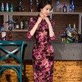 Top quality long silk velvet cheongsam half sleeve Women dress Evening Dress vestidos chinese dress chi-pao wedding Dress