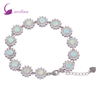 Glam Luxe Mysterious 925 Sterling Silver Overlay CZ Diamond White Fire Opal Bracelets For Teen Girls