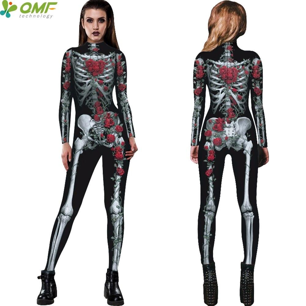 Femme Halloween Squelette Os Imprimé Costume Femmes Manches Longues T Shirt Top