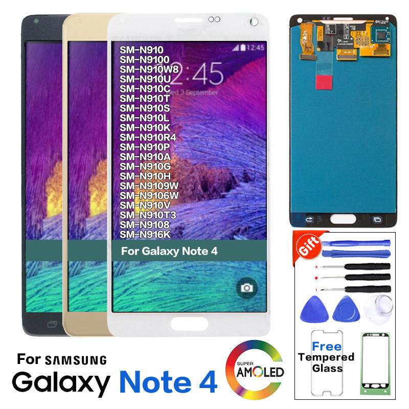 Original Display Für Samsung <font><b>Galaxy</b></font> Note 4 <font><b>Note4</b></font> N910C N910 N910A N910F <font><b>LCD</b></font> <font><b>Screen</b></font> Display Touch Digitizer Montage image