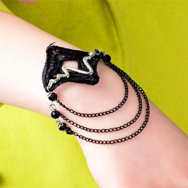 1 Stück Handgefertigte Vintage Schwarze Gothic Armbänder Für Frauen ...