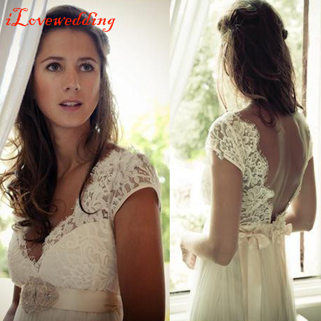 Elegant Bohemian Beach Wedding Dresses 2016 Deep V-neck Cap Sleeve Chiffon and Lace with Beads Long Bridal Gowns Cheap Vestidos