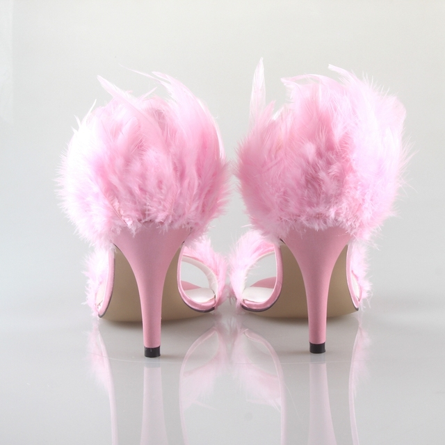 BS051 Custom Handmade Pink Feather Shoes With Matching Bag Set Two-Piece Women High Heel Shoes Bridal Wedding Shoes