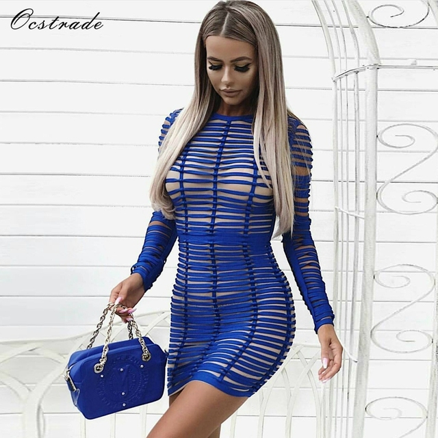 30e665a0ba Ocstrade Sexy Bodycon Dress Night Party Club Long Sleeve Women Summer 2018 New  Arrival Blue Woven Cage Mesh Bandage Dress Rayon