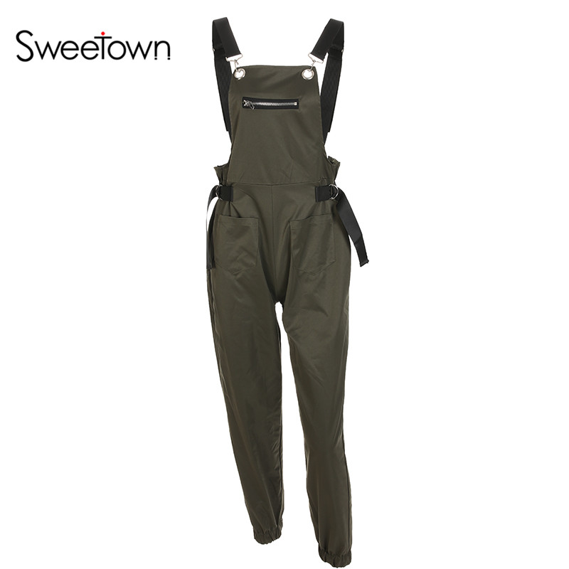 7bc6889507 Sweetown Black Long Jumpsuit Women Blue Street Style Combinaison Pantalon  Femme Green Overalls Khaki Jumpsuits For Women 2018-in Jumpsuits from  Women's ...