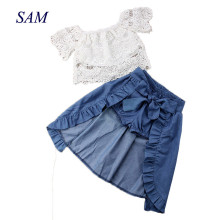 3PCS Baby Girl Clothes Sets Lace Off-Shoulder T-skjorte Topper Skjørt Shorts Bowknot Denim Summer Party Clothes Set Child 1-6T