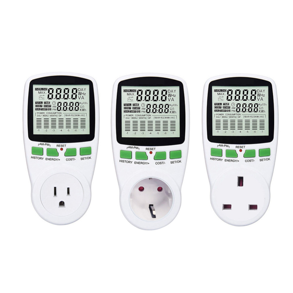 Electricity Consumption Measuring Socket Digital Wattmet Power Meter Electronic Energy Meter Voltage Wattmeter Power Analyzer digital power meter energy meter volt voltage wattmeter power analyzer electronic power energy meter measuring outlet socket eu