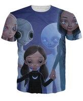 Güneşin T-Shirt insan ve alien türler çocuk 3d karikatür karakter unisex baskı t gömlek kadın erkek yaz t-shirt üstleri tee