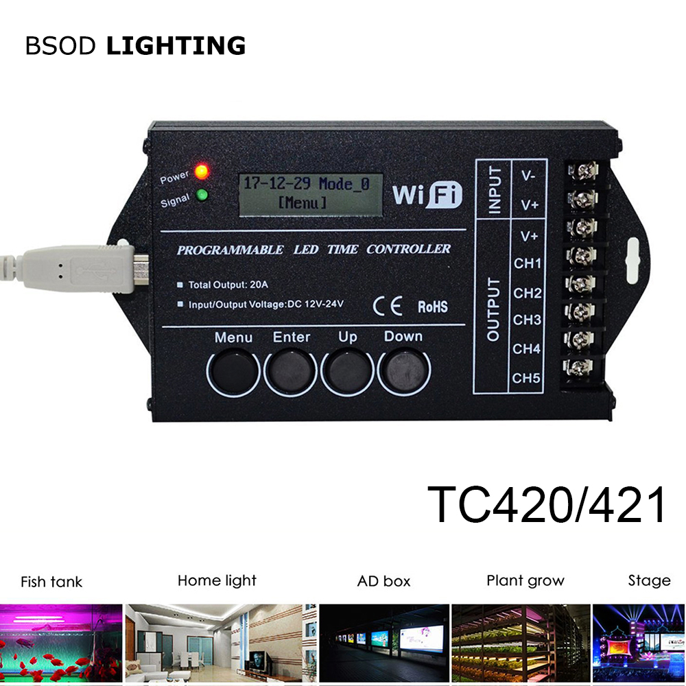 BSOD  Led Controller TC420 TC421 Wifi Led Time Programable PC Led Controller RGB PC Dimmer 5 Channnels DC12V24V For Led Strip
