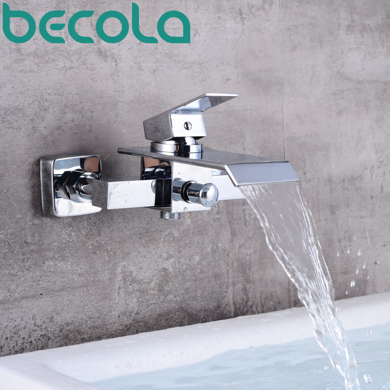 becola waterfall bathroom faucet wall mounted chrome brass bathtub faucet hot and cold basin tap LH