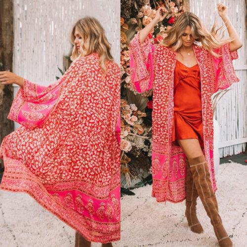 Ladies Women Loose Blouse Summer Boho Floral Chiffon Coat Shawl Kimono OutwearLadies Women Loose Blouse Summer Boho Floral Chiffon Coat Shawl Kimono Outwear