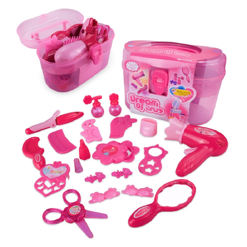 Girls Beauty Hair Toy Make Up Set Toys Pretent Play Simulation Cosmetic Bag Plastic Makeup Toy Children Pretend Play Toys